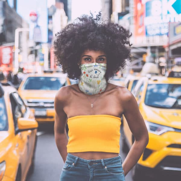 princess face mask in NYC worn by fashionable African American woman