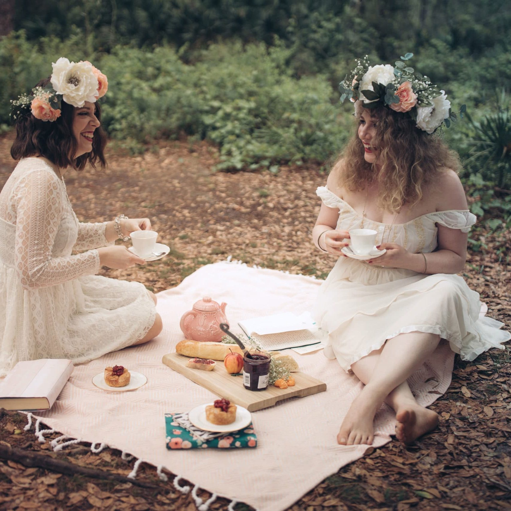 Empowered Princess Podcast Episode Cover Image Princess Picnic in the Forest Laughing Princesses Having Tea
